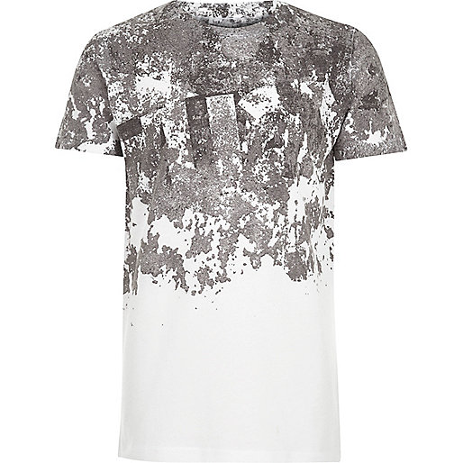 Boys white cracked print T-shirt