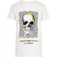 T-shirt blanc imprimé tête de mort fluo garçon