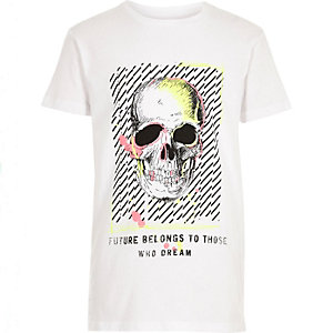 Boys white neon skull T-shirt