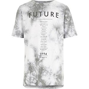 T-shirt blanc imprimé future effet tie-dye pour garçon