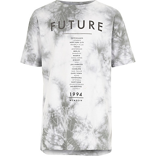 Boys white future print tie dye T-shirt