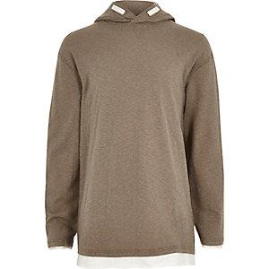 Boys khaki green lightweight hoodie