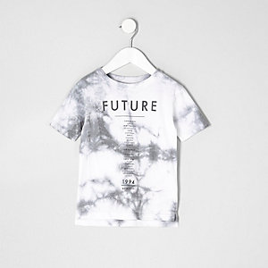 Mini boys white tie dye 'future' band T-shirt