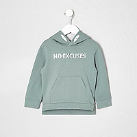 Mini boys green no excuses hoodie