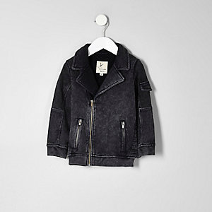 Mini boys boys grey washed denim biker jacket