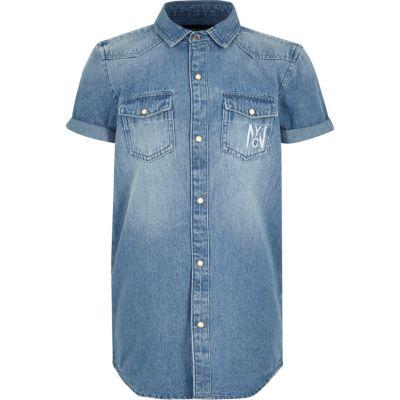 Blauw denim overhemd met korte mouwen voor jongens