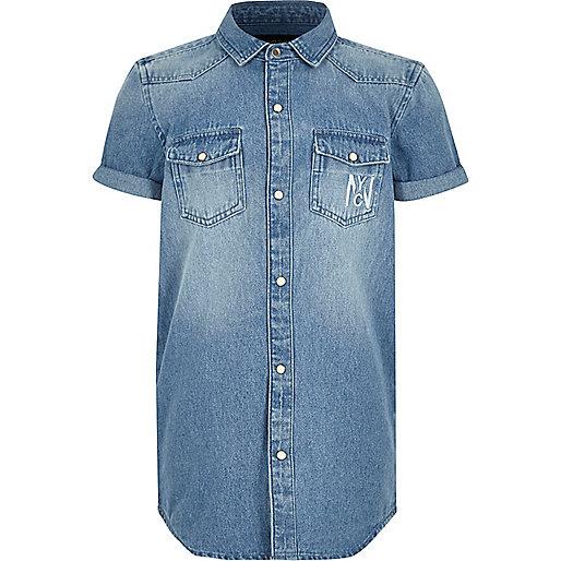 Boys blue denim short sleeve shirt