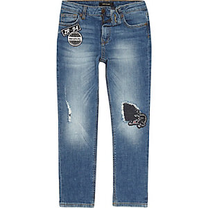 Boys mid blue wash badge slim fit jeans