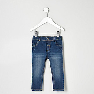 Mini boys blue wash faded skinny jeans