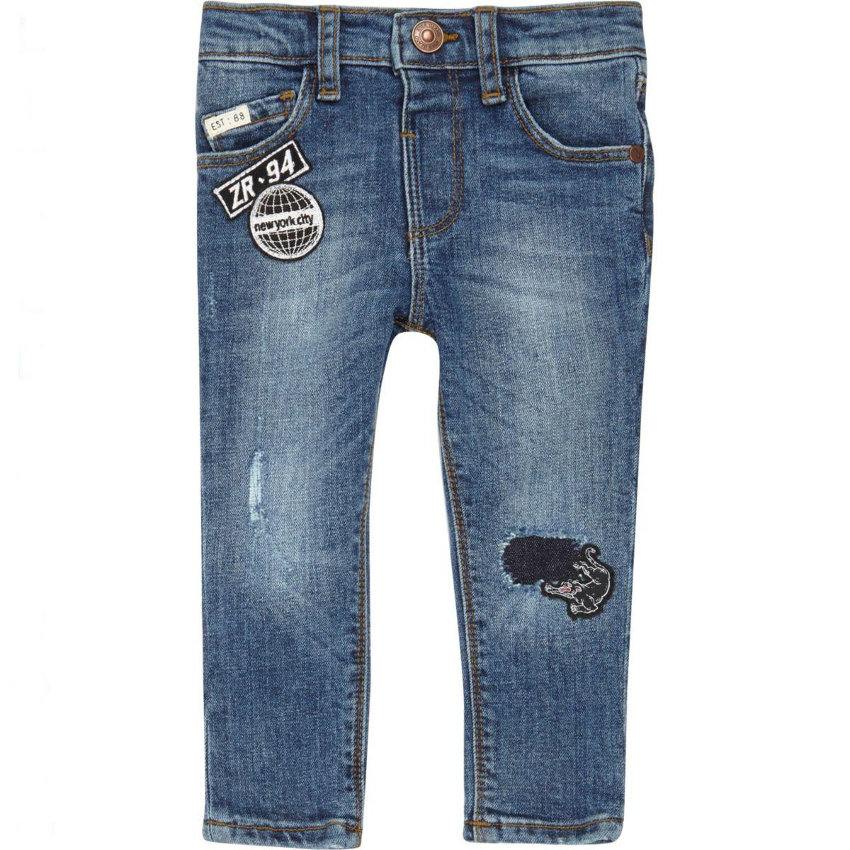 Mini boys blue badge slim fit jeans