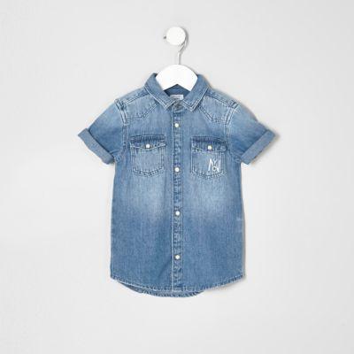 Mini blauw denim overhemd met atittude'-print voor jongens