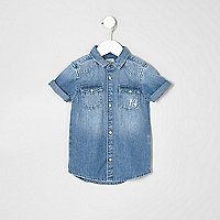 Mini boys blue denim 'attitude' shirt