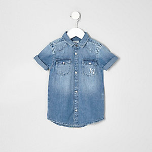 Chemise «attitude » en jean bleu pour mini garçon