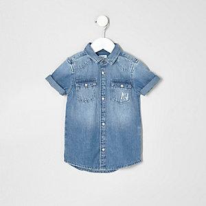 Mini - blauw denim overhemd met 'atittude'-print voor jongens