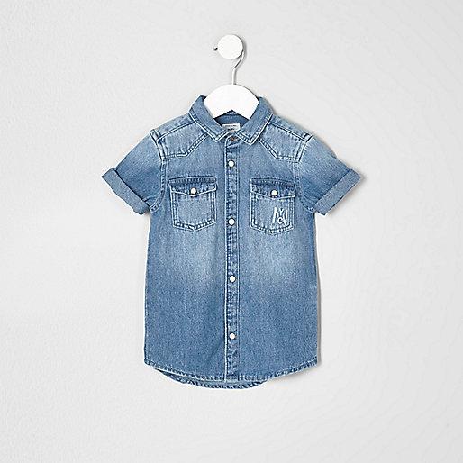 Mini boys blue denim 'attitude' shirt