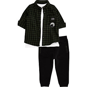 Mini boys green check shirt joggers set