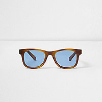Boys tortoiseshell retro blue lens sunglasses