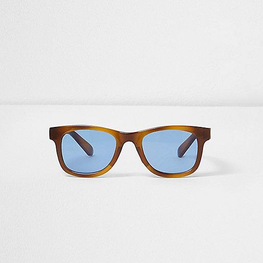 Mini boys blue tortoiseshell retro sunglasses