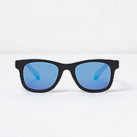 Boys black blue mirror lens retro sunglasses