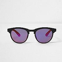 Matte Retro-Sonnenbrille in Schwarz und Orange