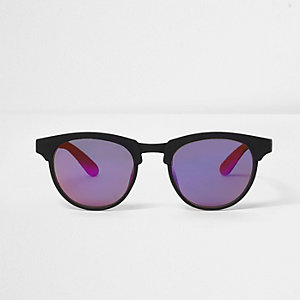 Boys black and orange matte retro sunglasses