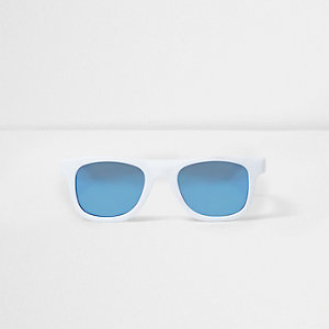 Boys white retro blue lens