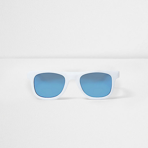Mini boys white retro blue lens