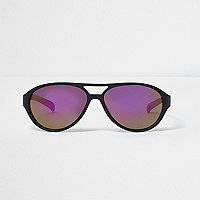 Boys black aviator purple lens sunglasses