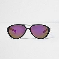 Lunettes de soleil aviateur noires à verres violets pour garçon