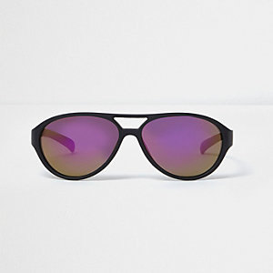Lunettes de soleil aviateur noires et violettes mini garçon