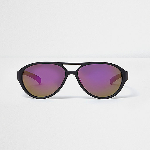 Mini boys black and purple aviator sunglasses