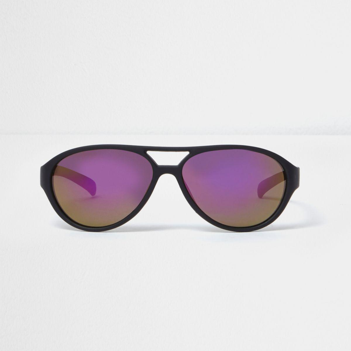 Mini boys black and purple aviator sunglasses