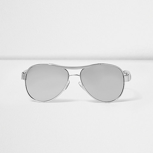 Boys silver brushed aviator sunglasses