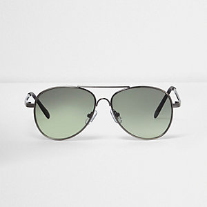 Boys dark silver gunmetal aviator sunglasses