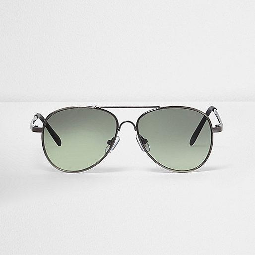 Boys dark silver gunmetal aviator sunglasses