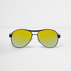 Boys black rubberised aviator sunglasses