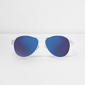 Boys white purple lens aviator sunglasses