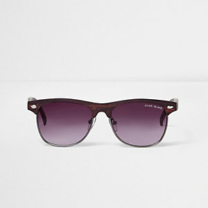 Boys brown wood effect retro sunglasses