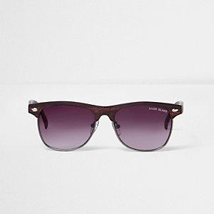 Boys brown wood effect retro sunglasses