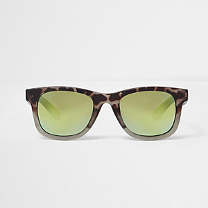 Boys khaki green camo retro sunglasses