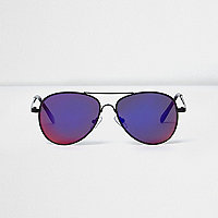 Boys black purple lens aviator sunglasses