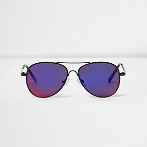 Boys black purple lens aviator sunglasses