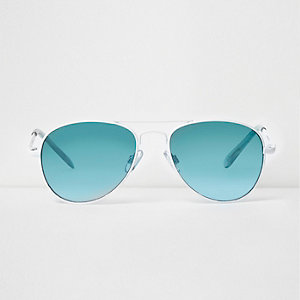 Weiße Pilotensonnenbrille mit blauen Gläsern