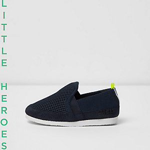 Mini boys navy mesh slip on plimsolls