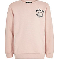 Boys pink back print brave sweatshirt