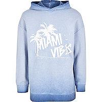 Sweat à capuche imprimé «Miami vibes» bleu délavé pour garçon