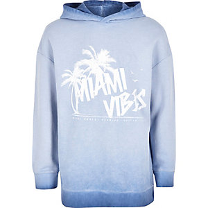 Boys blue washed 'Miami vibes' print hoodie