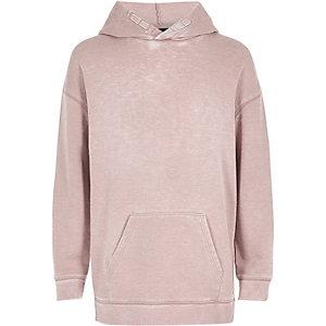 Boys pink burnout hoodie