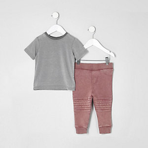 Mini boys grey burnout T-shirt outfit