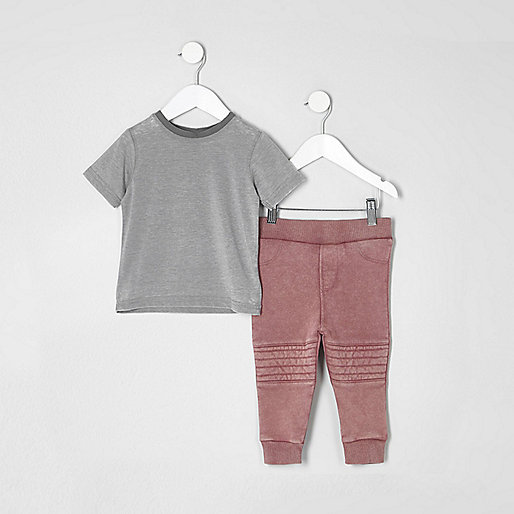 Mini boys grey burnout T-shirt outfit